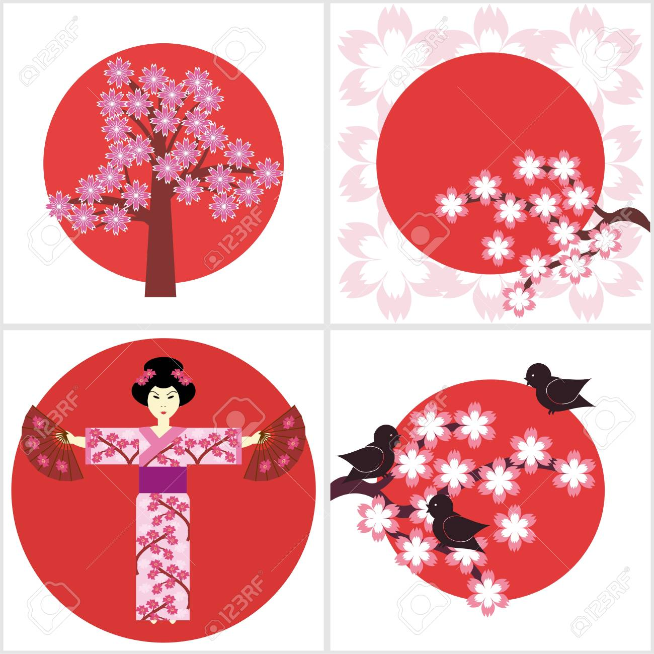 four illustration in japanese style Stock Vector - 16503825