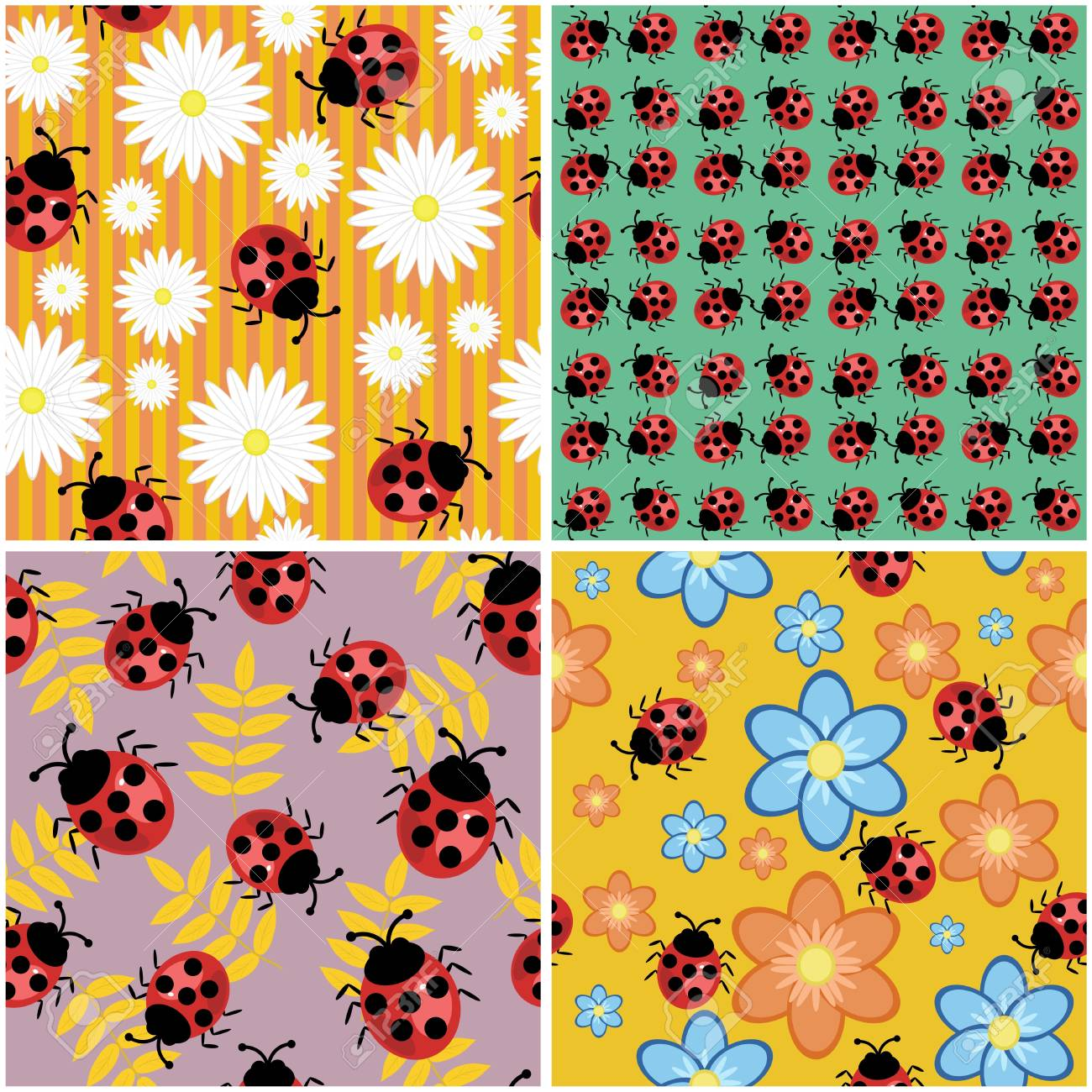 four seamless backgrounds with ladybirds Stock Vector - 17495074