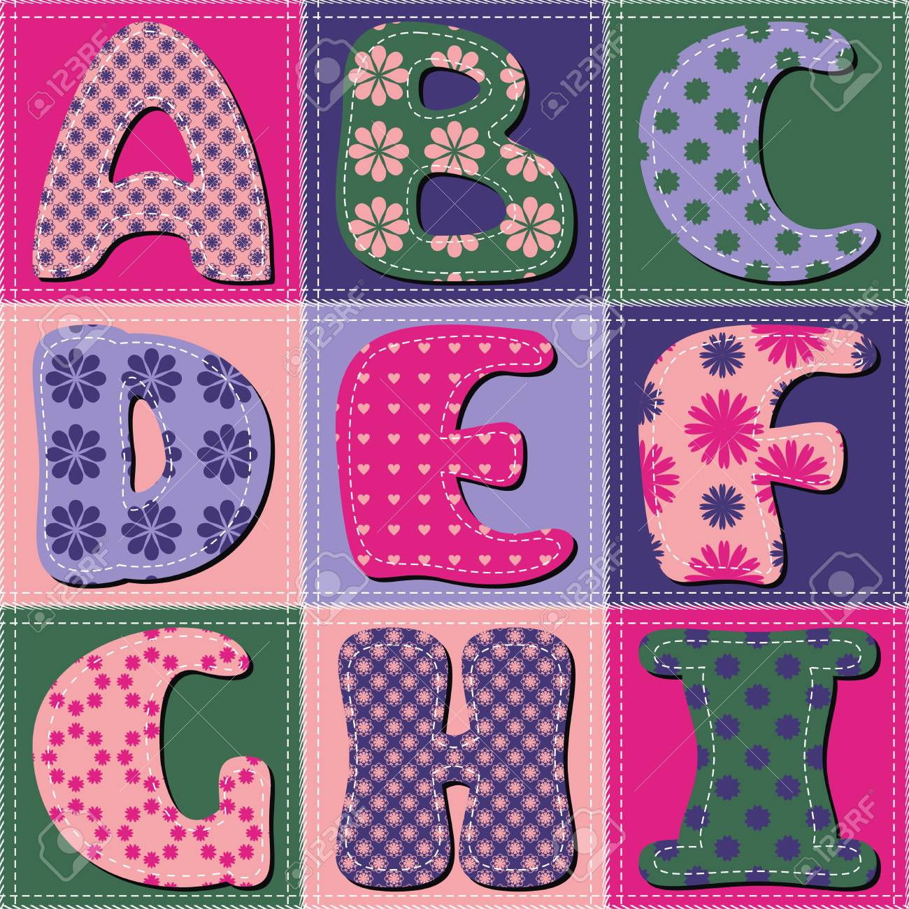 Scrapbook Letters On Patchwork Background Royalty Free Cliparts