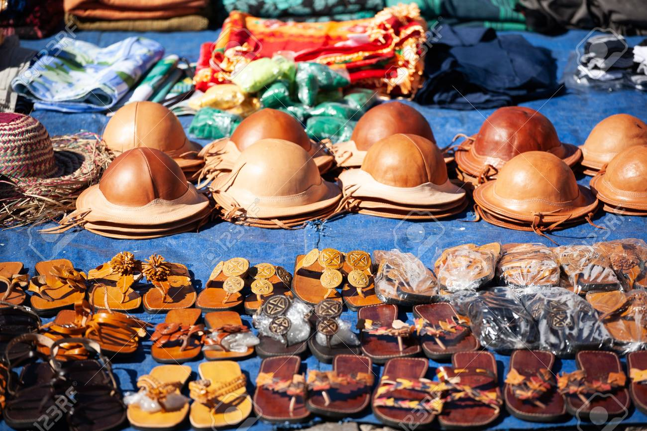 Stock Photo - Traditional leather hats from the northeast of Brazil for sale  at the farmers market fd5a848bdd6