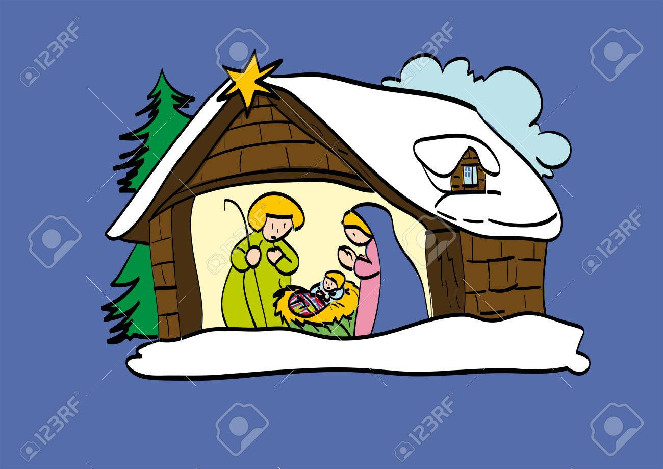 Hut of the Child Jesus, illustration made with style childhood - 34185361