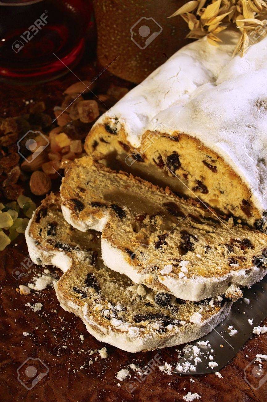 Traditional German Christmas Cake With Powdered Sugar Stock Photo ...