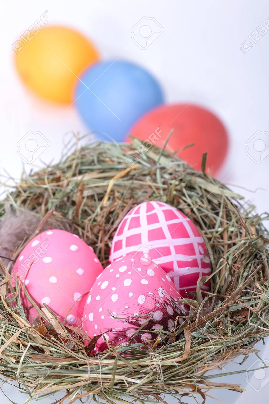 Three Easter eggs in a nest  In the background other eggs on white Stock Photo - 16025041