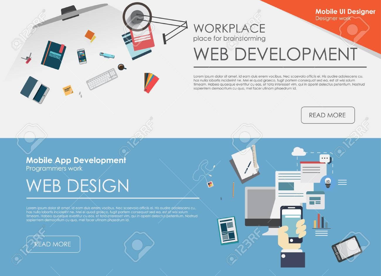 Set Of Flat Design Illustration Concepts For Web Design Development Royalty Free Cliparts Vectors And Stock Illustration Image 38356499