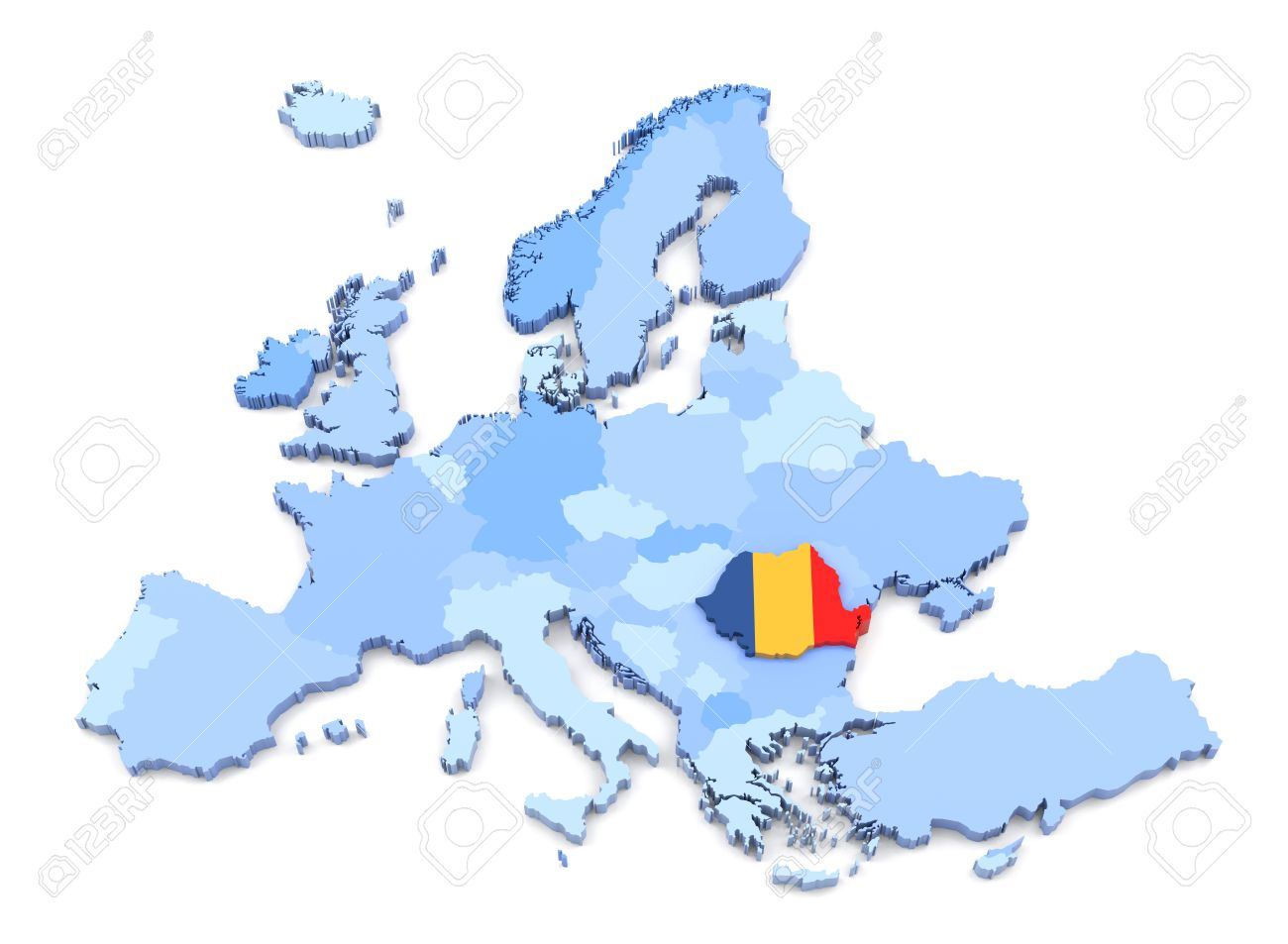 3D Rendering Of Europe Map, Romania With Flag Stock Photo, Picture ...