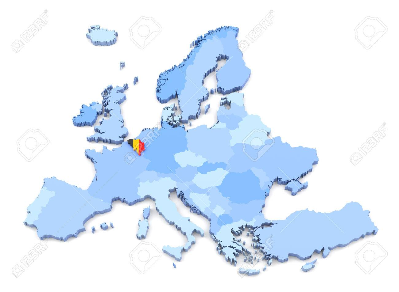 Europe Map Belgium.3d Rendering Of Europe Map Belgium With Flag Stock Photo Picture