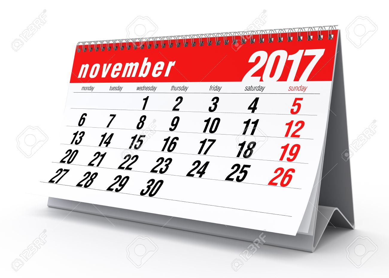 November 2017 Calendar. Isolated On White Background. 3D ...