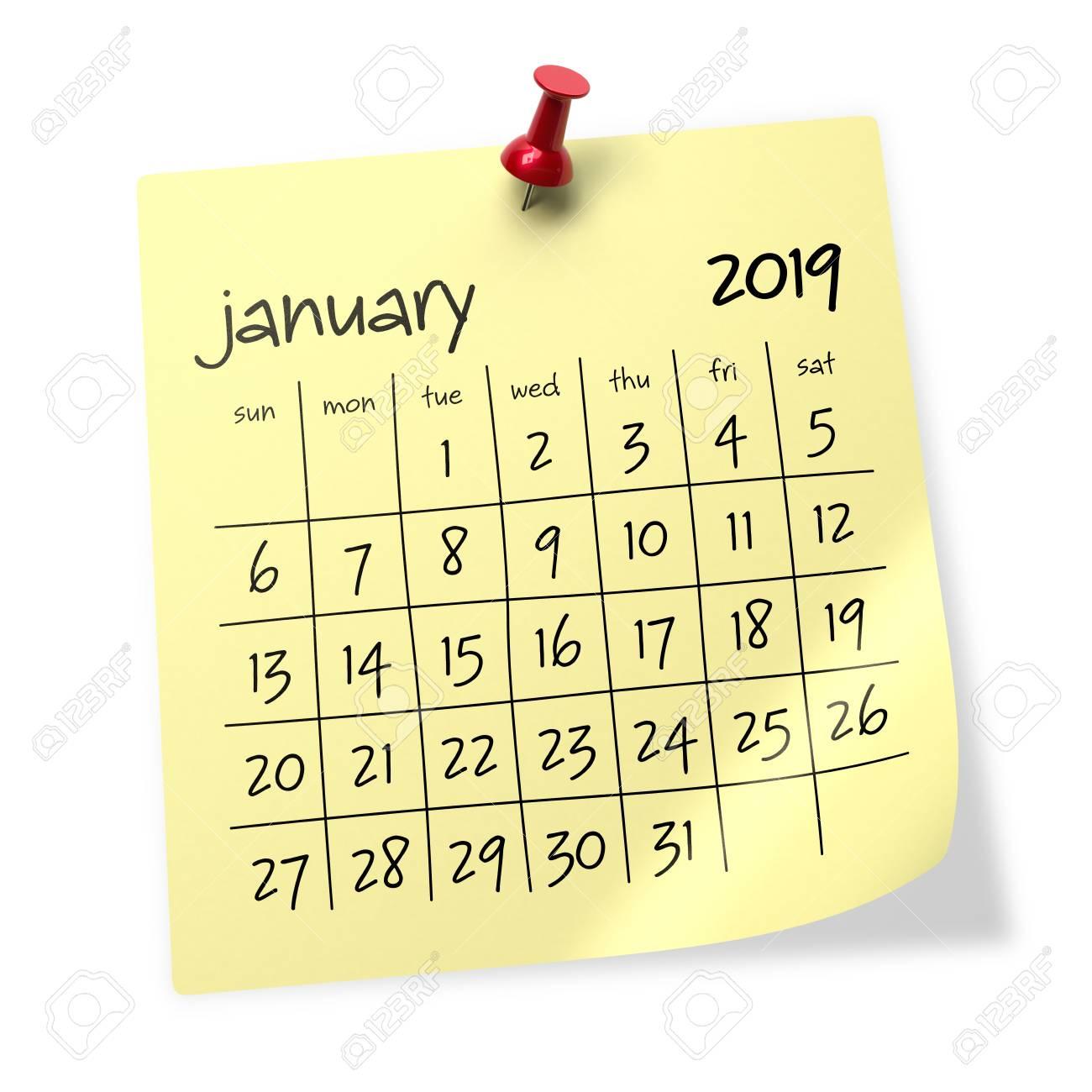 January 2019 Calendar For Background January 2019 Calendar. Isolated On White Background. 3D