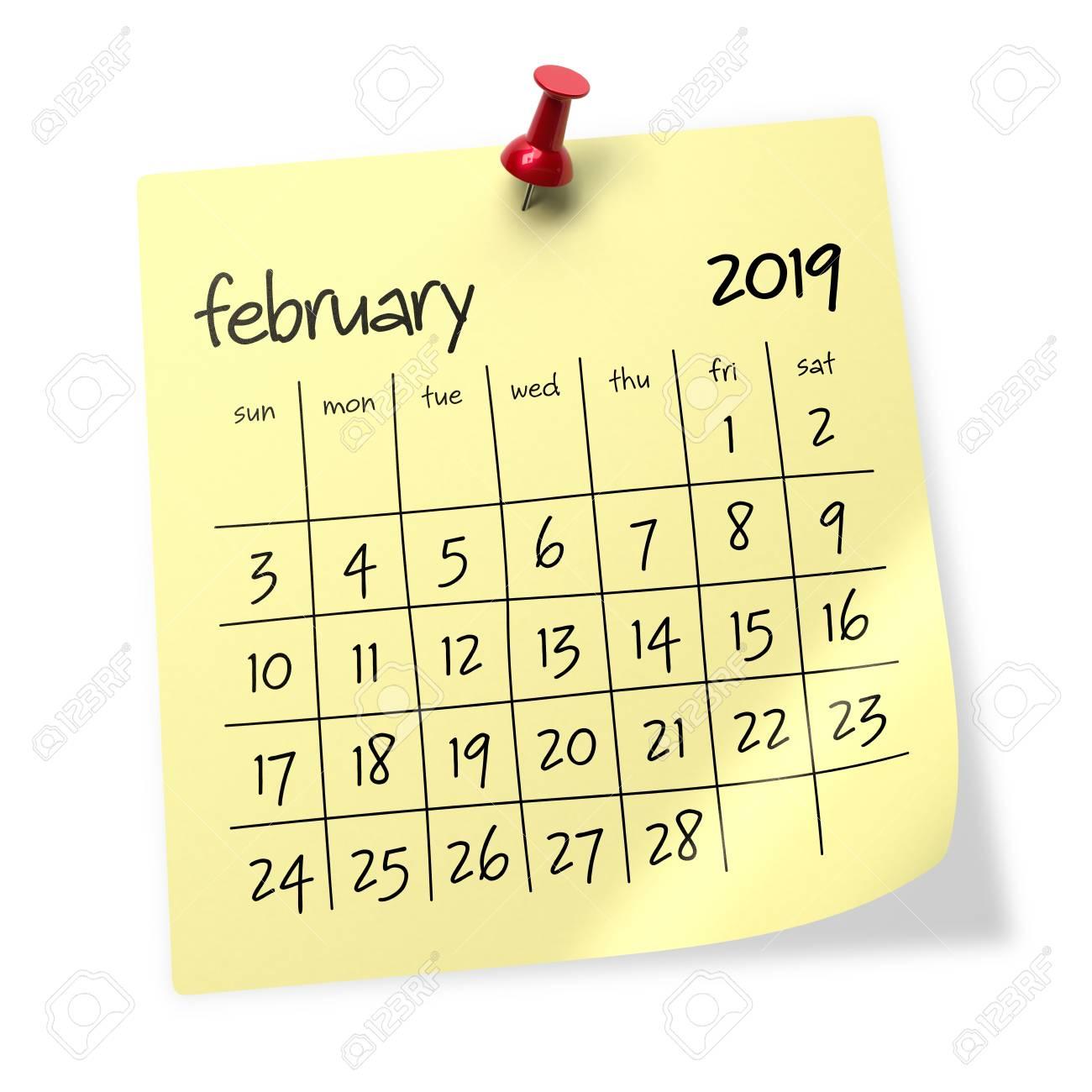 Calendar Background February 2019 February 2019 Calendar. Isolated On White Background. 3D