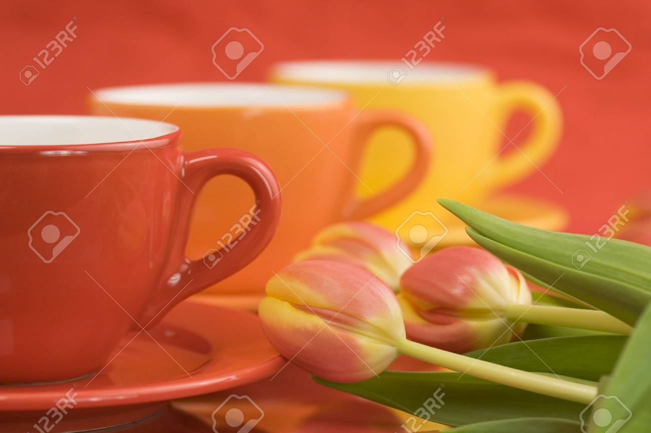 Row of color cups and beautiful fresh tulips. Selective focus. Stock Photo - 2585706