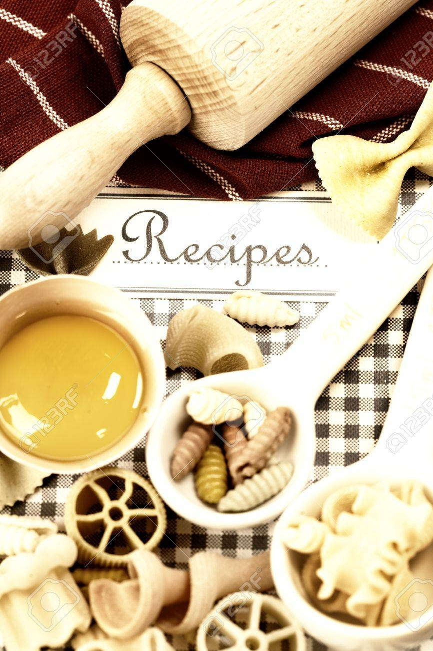 The book of recipes and italian pasta Stock Photo - 11003580