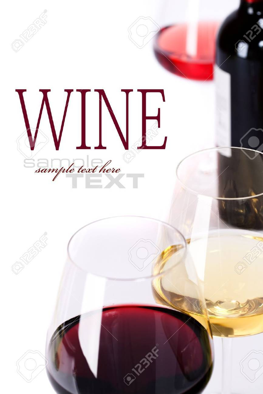 Glasses of white, red and rose wine  over white (with sample text) Stock Photo - 11003582