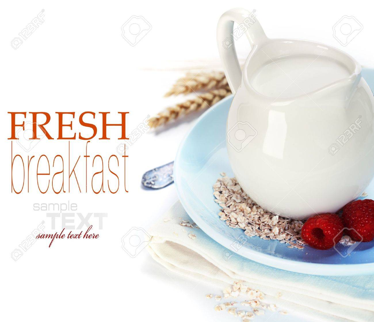 Oat flakes, milk and berries over white (with sample text) Stock Photo - 11003584