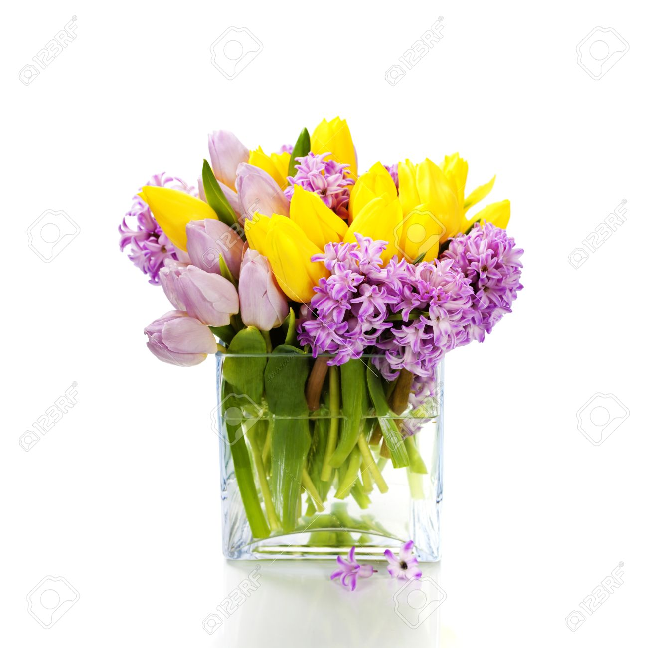 Beautiful Spring Flowers In Vase Over White Stock Photo Picture And