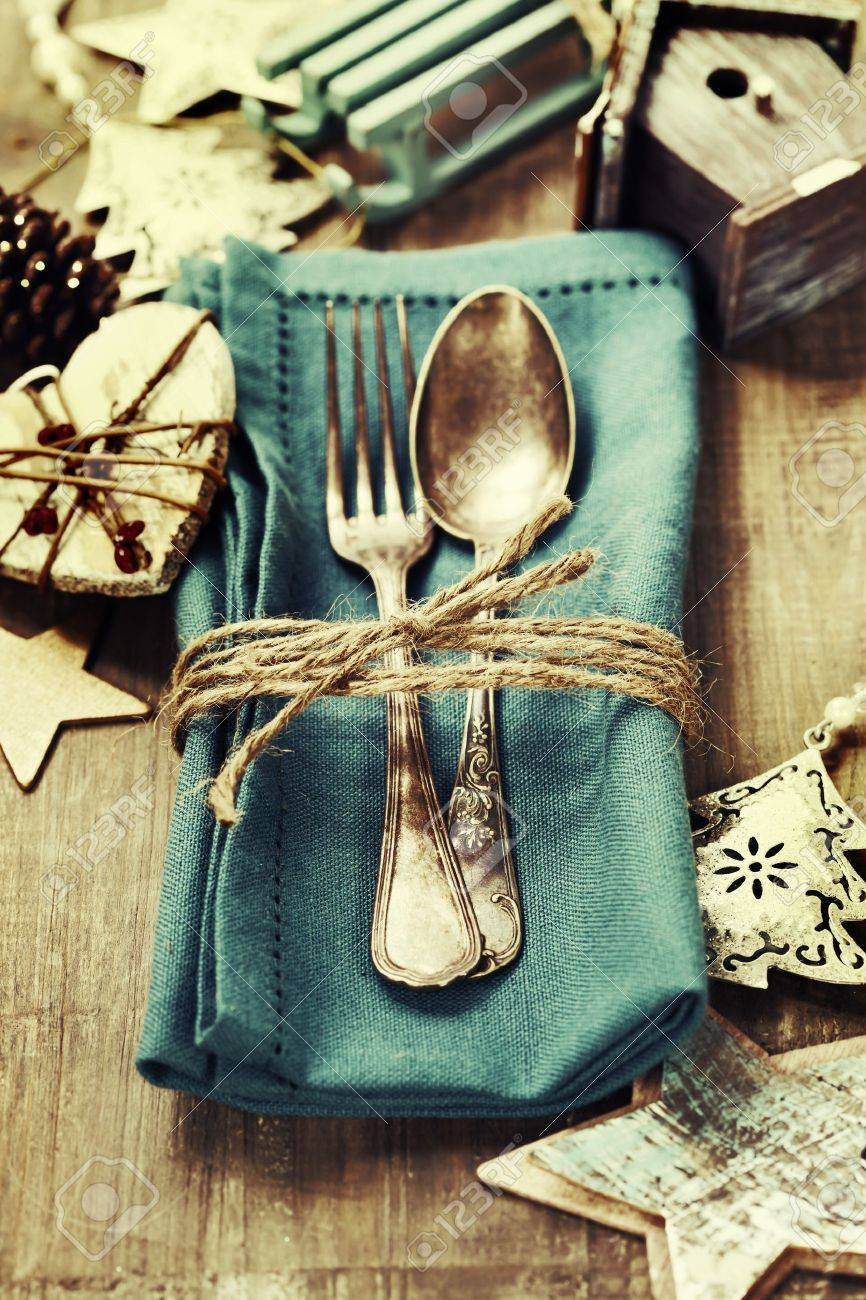 Christmas table place setting with christmas decorations Stock Photo - 21996887