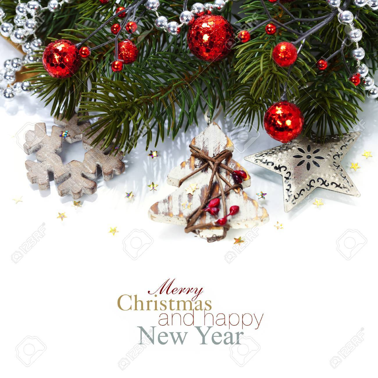 Bright christmas composition with wooden decorations (with easy removable sample text) Stock Photo - 22955665