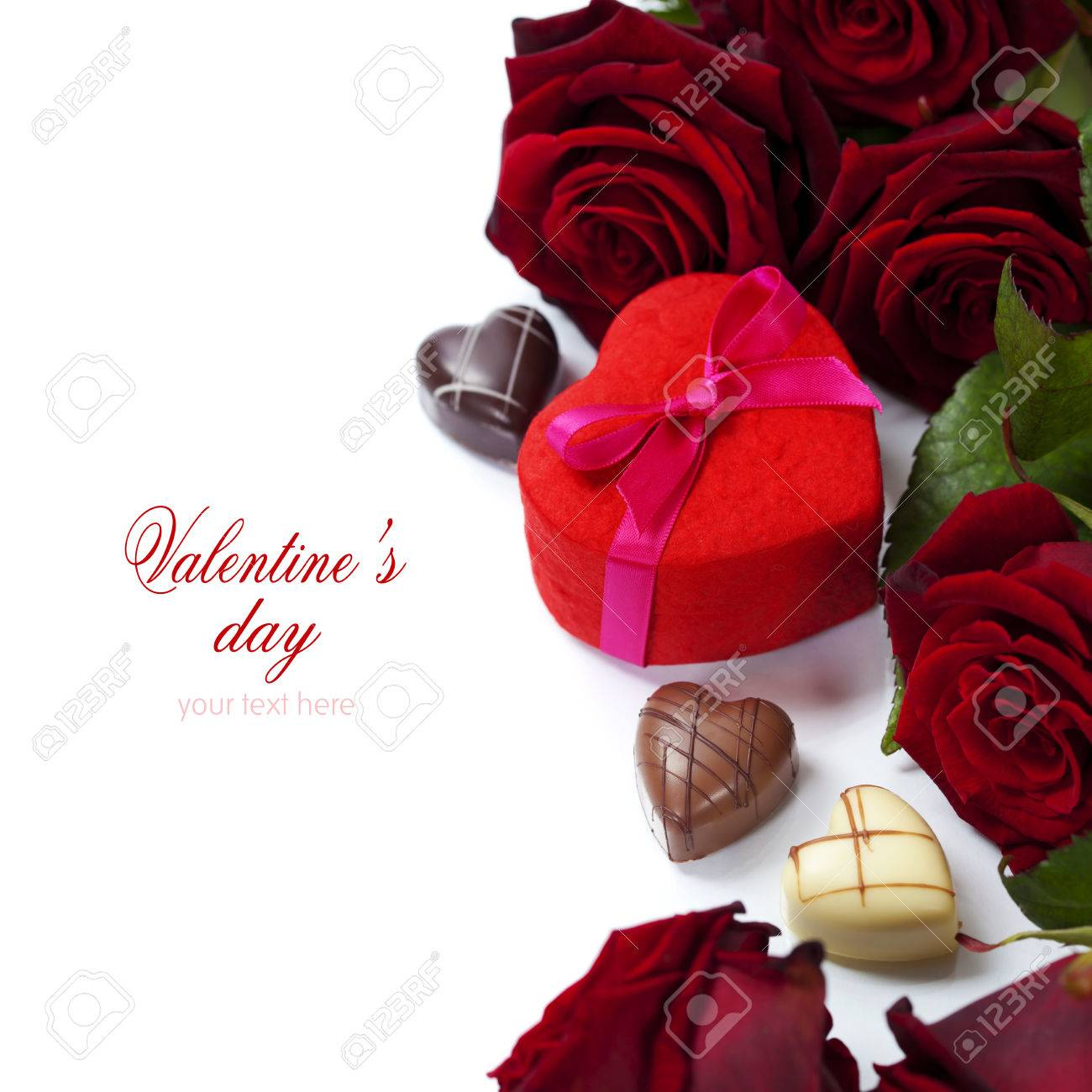 St Valentine S Day Roses And Chocolate Over White With Easy
