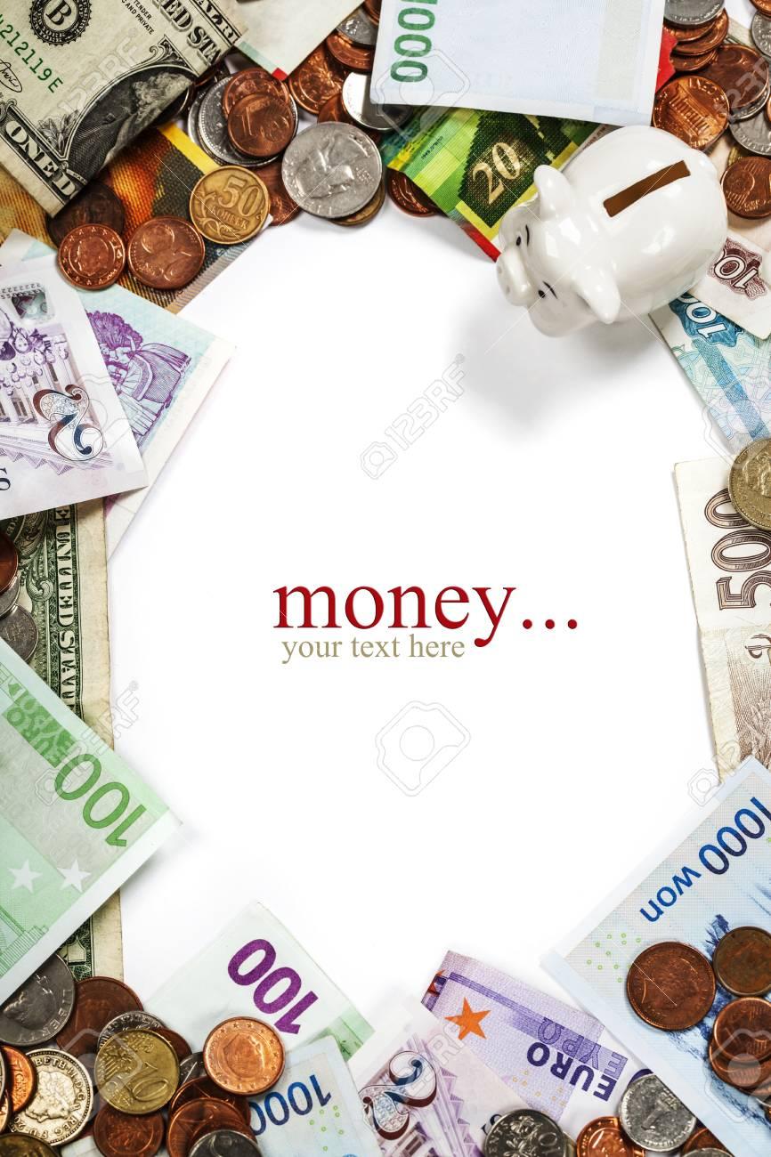 Ausländische Münzen Und Banknoten Rahmen Lizenzfreie Fotos Bilder