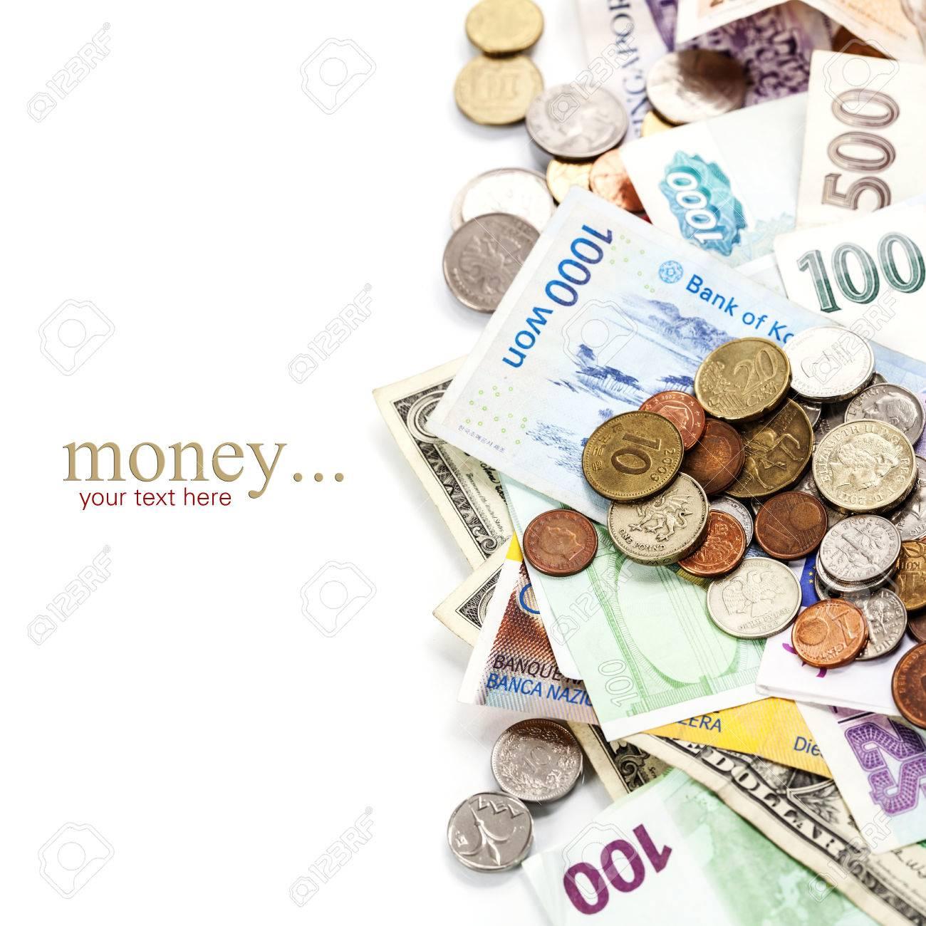 Ausländische Münzen Und Banknoten Lizenzfreie Fotos Bilder Und