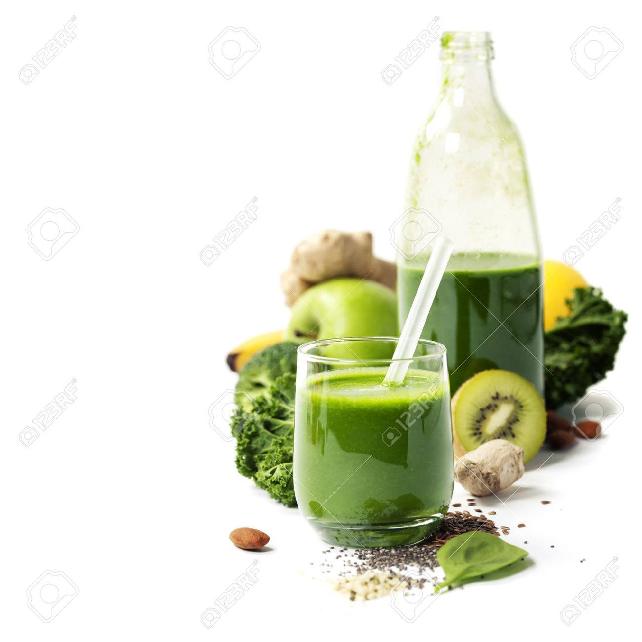 Healthy green smoothie and ingredients on white - superfoods, detox, diet, health, vegetarian food concept - 51221502