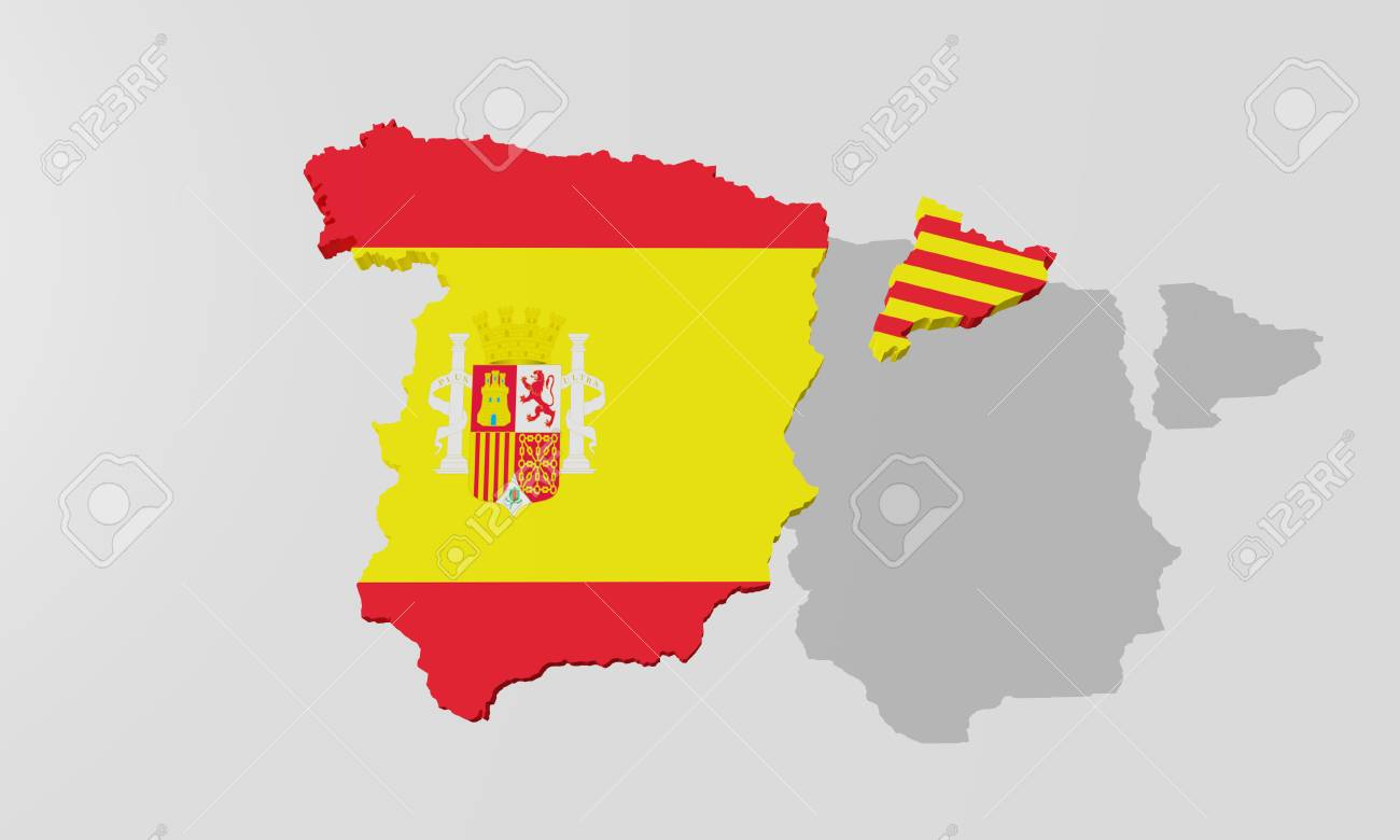 3d Rendering Of A Map Of Spain And Catalonia Stock Photo Picture