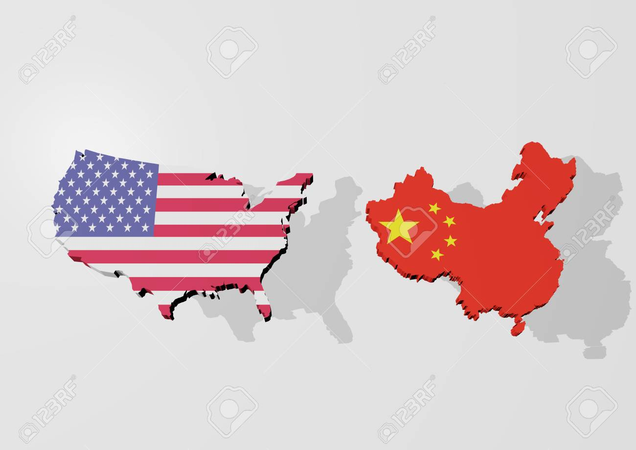 A 3d Rendering From A Map Of Usa And China In Front Of An Light - China-and-us-map