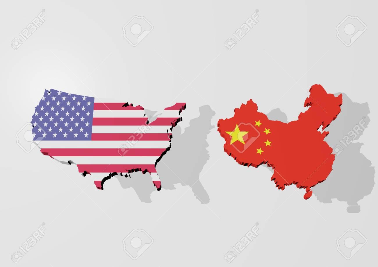 China Usa Map on