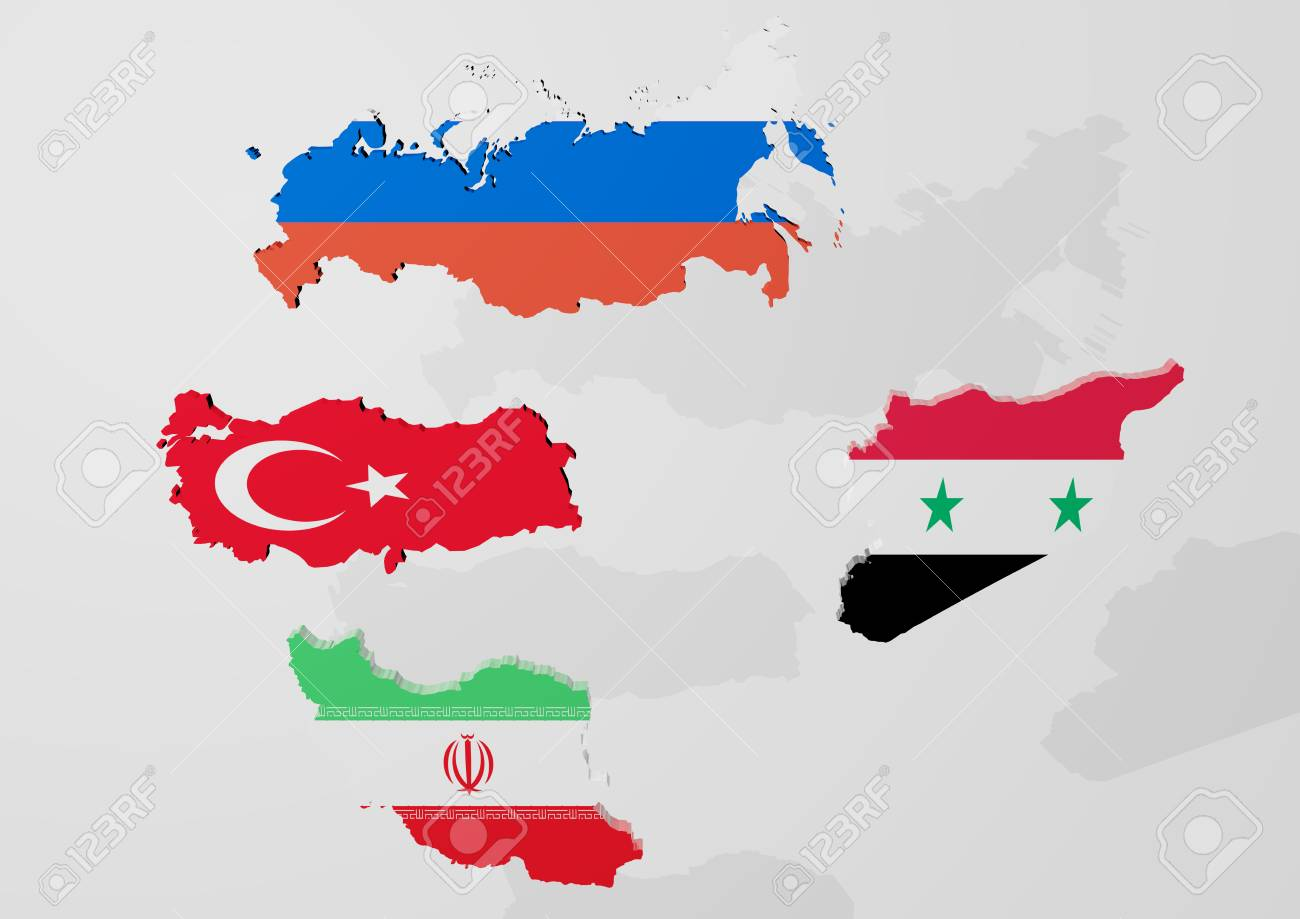 3d Rendering Of An Map Of Russia Turkey Iran And Syria In Front