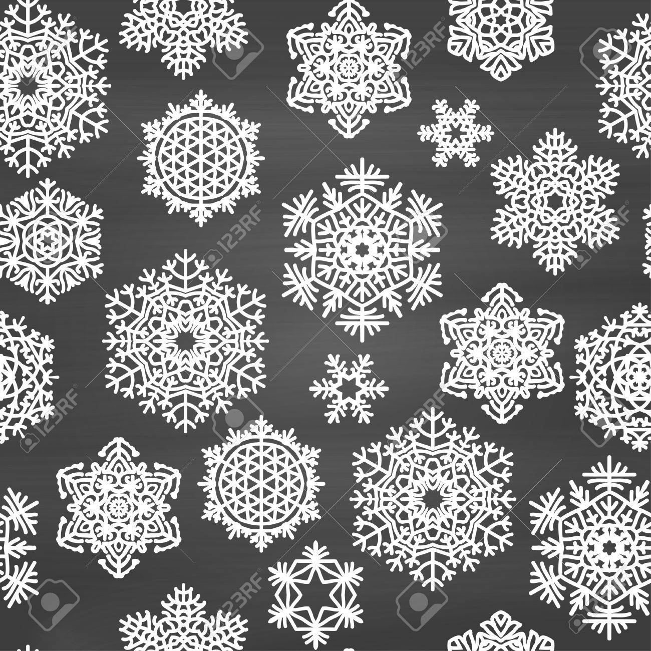 Winter Seamless Pattern With Hand Drawn Snowflakes On Chalkboard