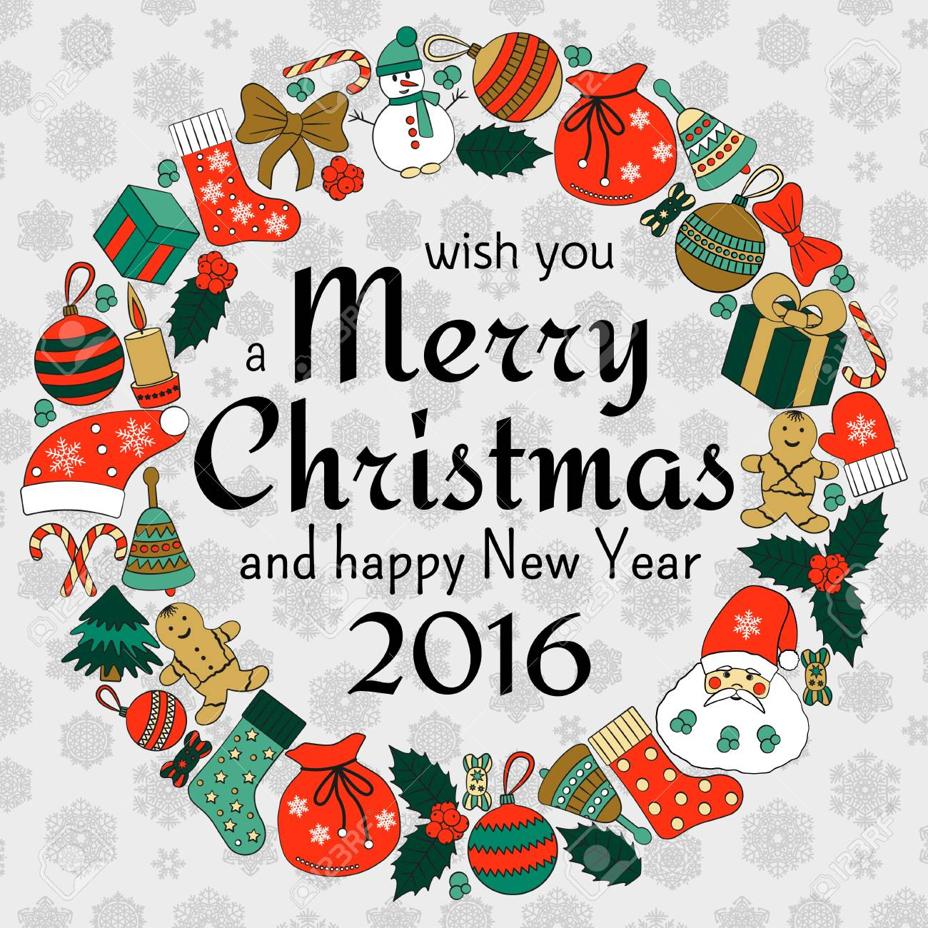 Christmas Greeting Card With Text Wish You A Merry Christmas