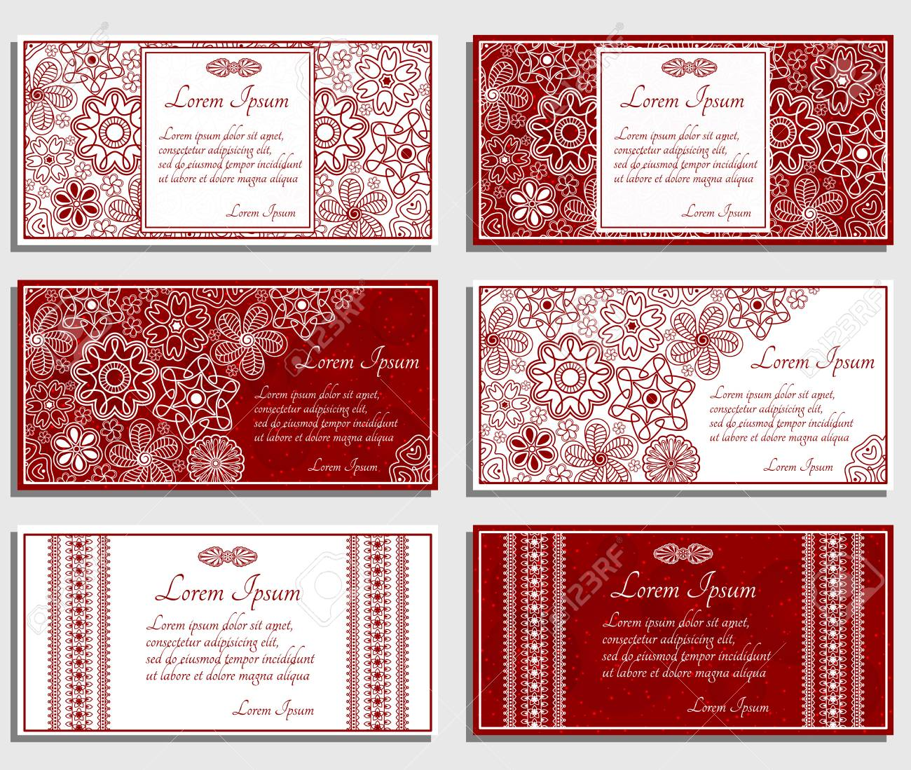 Set Of Beige Invitation Cards With Paisley And Floral Elements ...