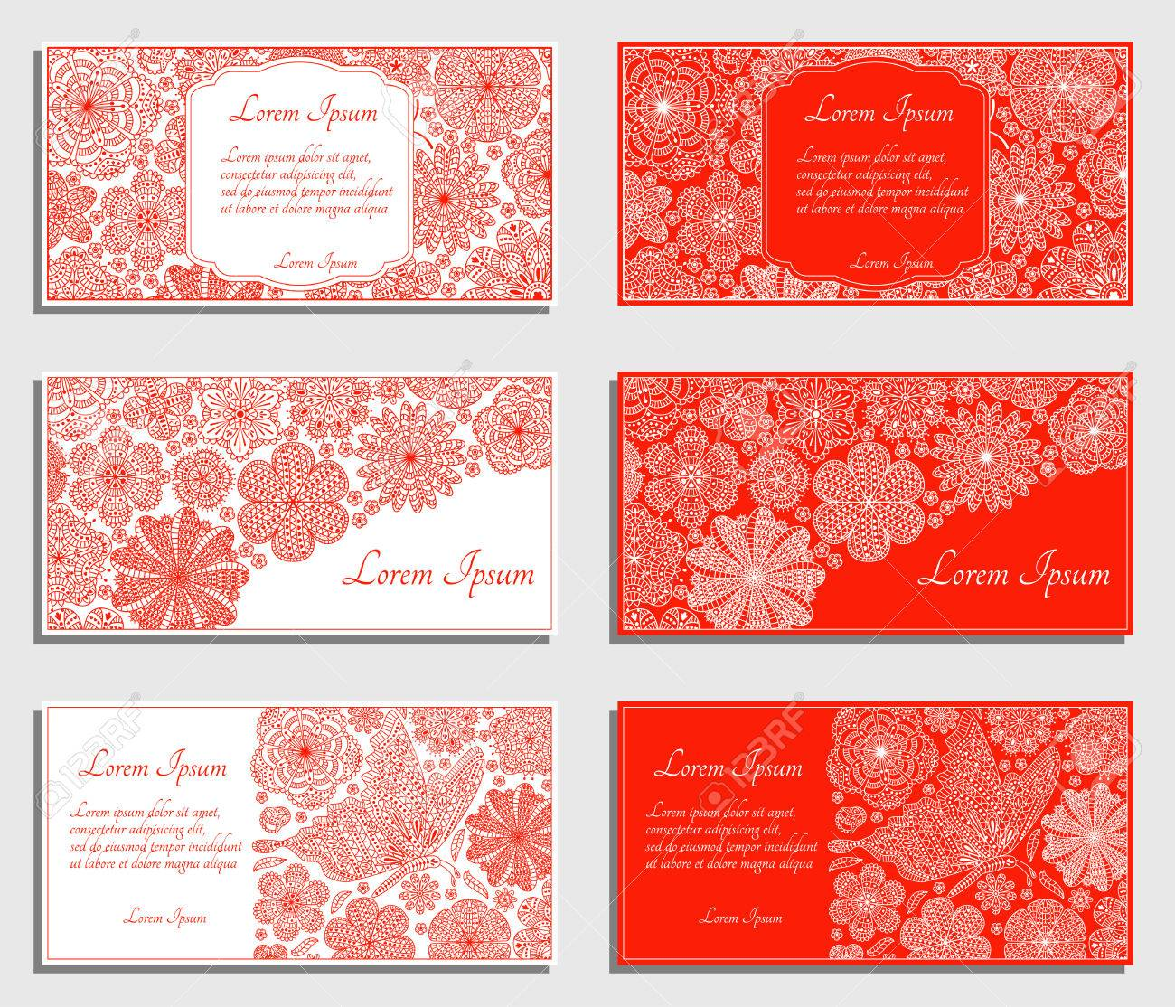 Set Of Red Invitation Cards With Flowers And Butterfly. Good ...