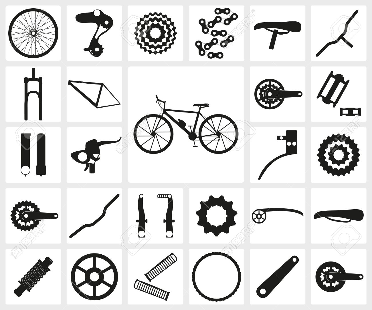 Set Of Black Silhouette Icons Of Bicycle Spare Parts Twenty