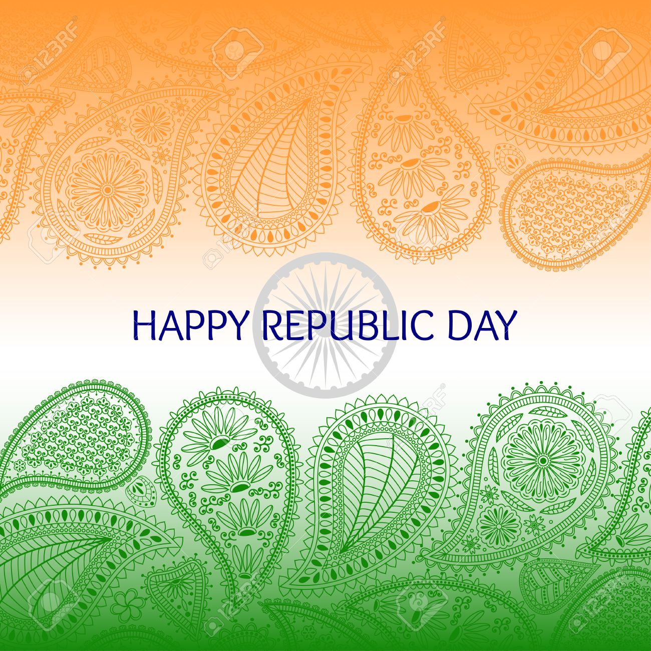Greeting card with paisley elements text happy republic day greeting card with paisley elements text happy republic day and flag of india orange m4hsunfo