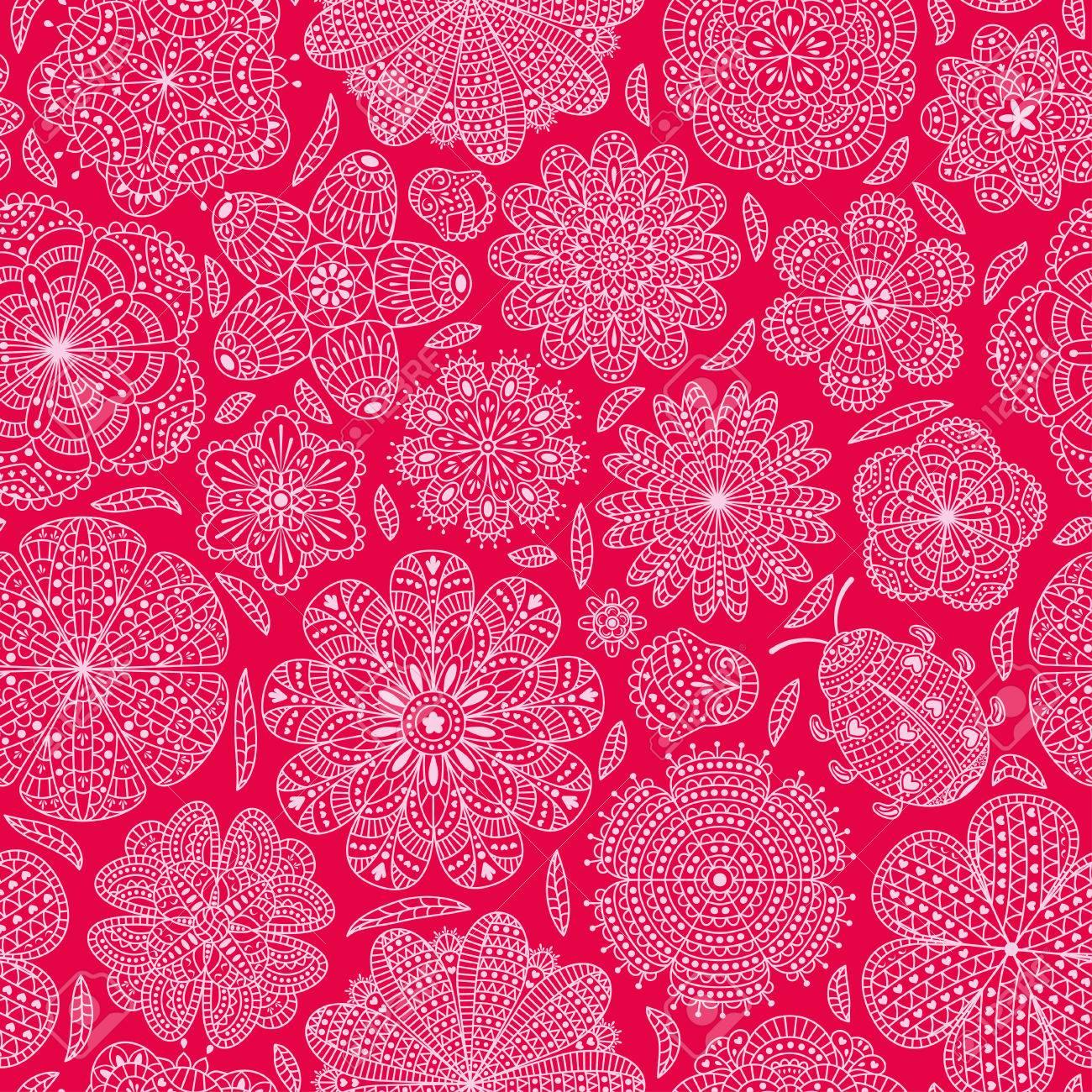 Nahtlose Muster Mit Blumen Und Marienkäfer. Romantische ...
