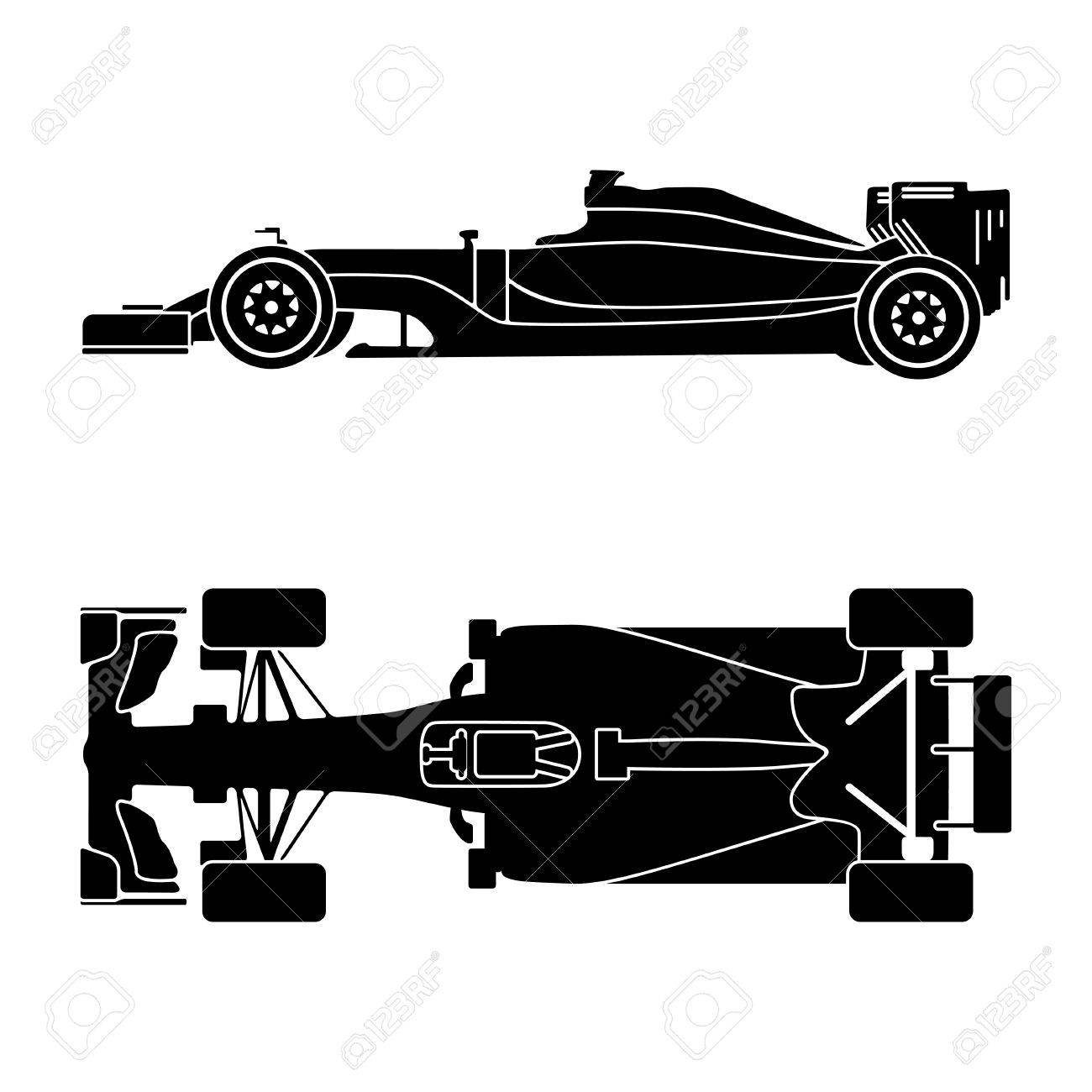 Silhouette Of A Racing Car Isolated On White Background Top