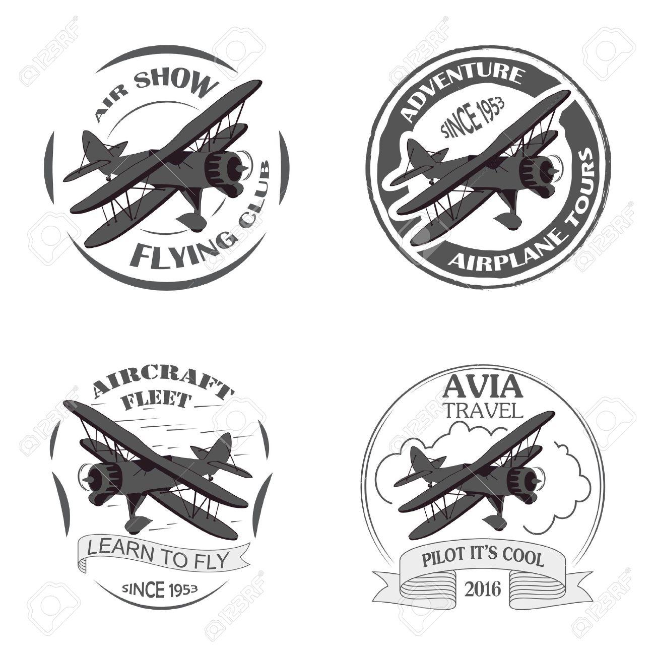 Emblèmes Davion Vintage étiquettes Biplan Badges Davion Rétro Des éléments De Conception Davion Timbres Aviation Collection Logo Aérienne