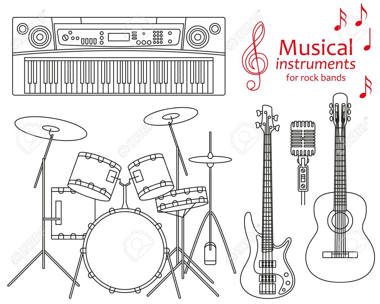 Conjunto De Iconos De Líneas. Instrumentos Musicales Para Bandas De ...
