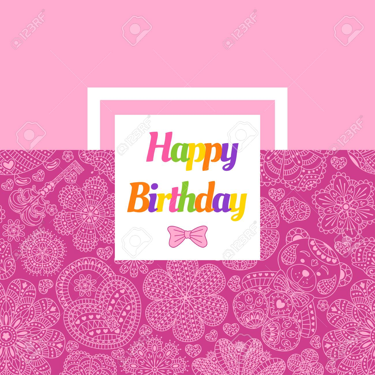 Birthday Card With Flowers Hearts Bear And Key Text Happy