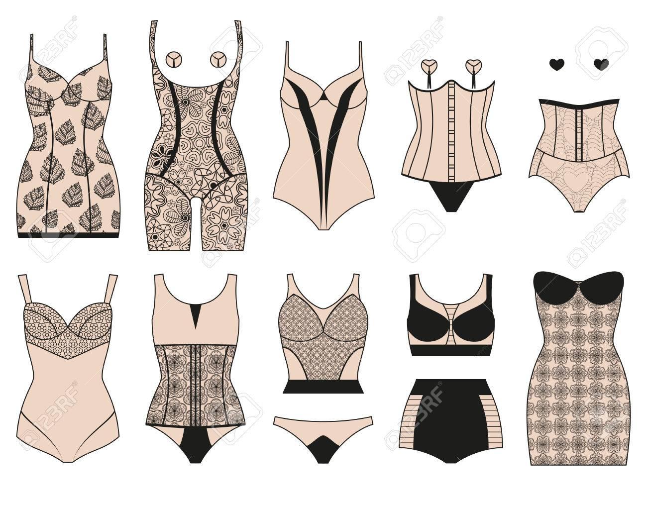 venta caliente online b7695 117c0 Conjunto de lencería correctiva. ropa interior femenina de encaje.  Ilustración del vector.