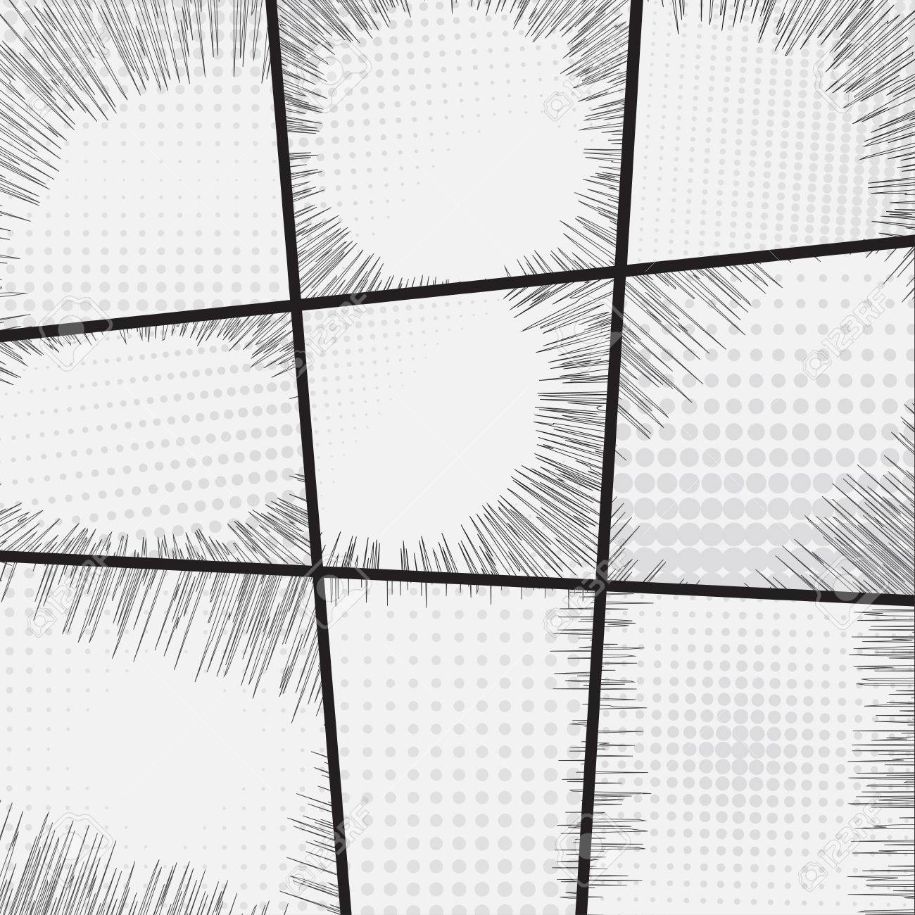 Comic Book Set Frame Black And White Radial Lines Background ...