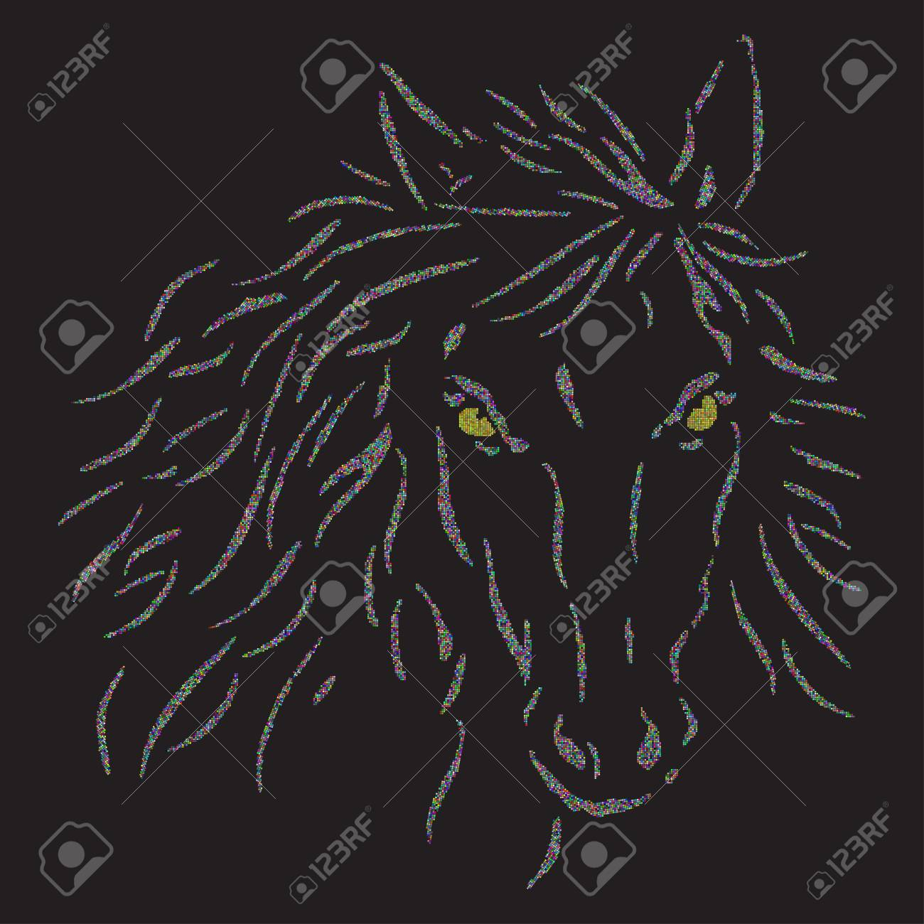 The Horses Head On A Black Background Colored Halftone Dots