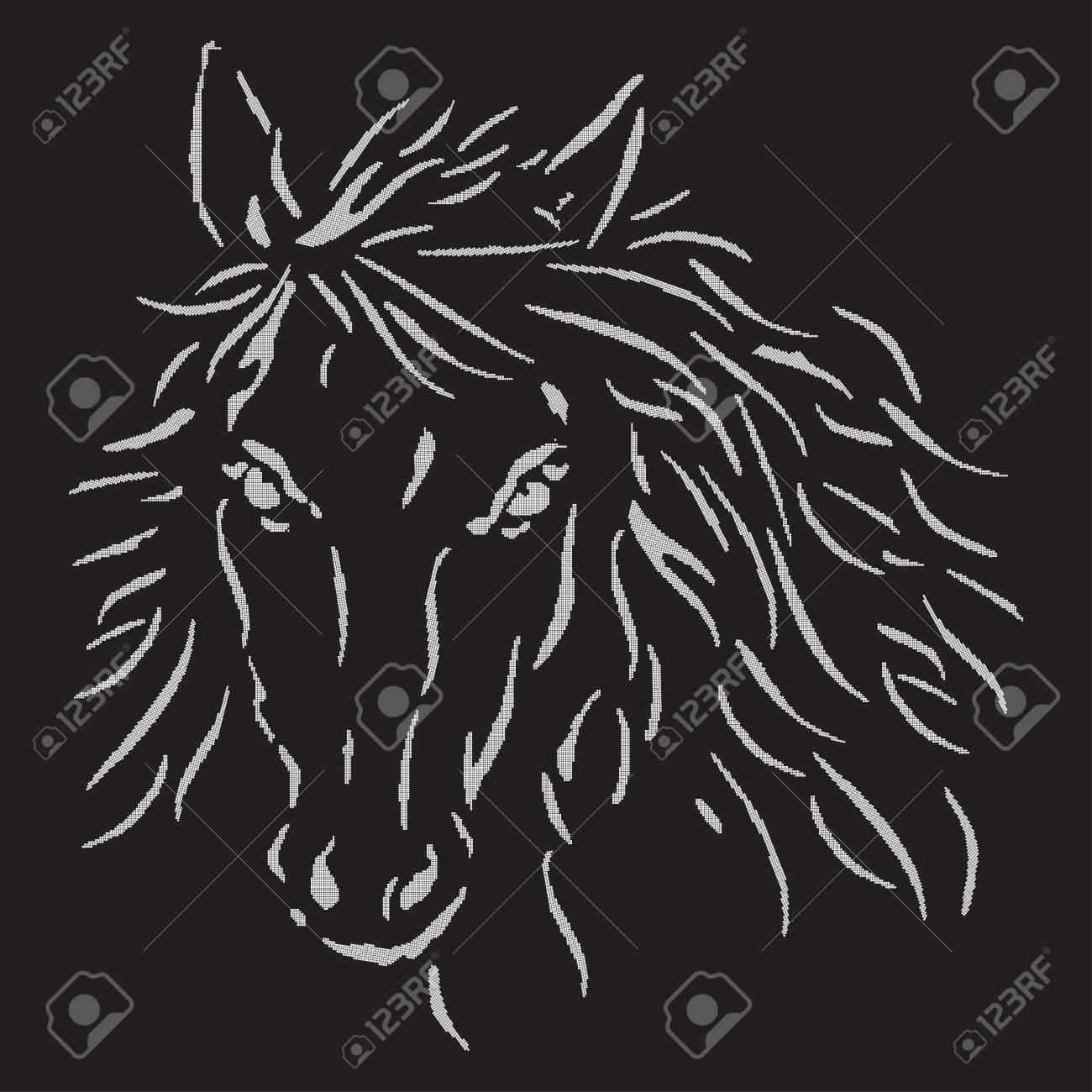 La Tête Du Cheval Blanc Sur Un Fond Noir Art De Pixel Monochrome Cheval Logo Panneau Polo Illustration Vectorielle