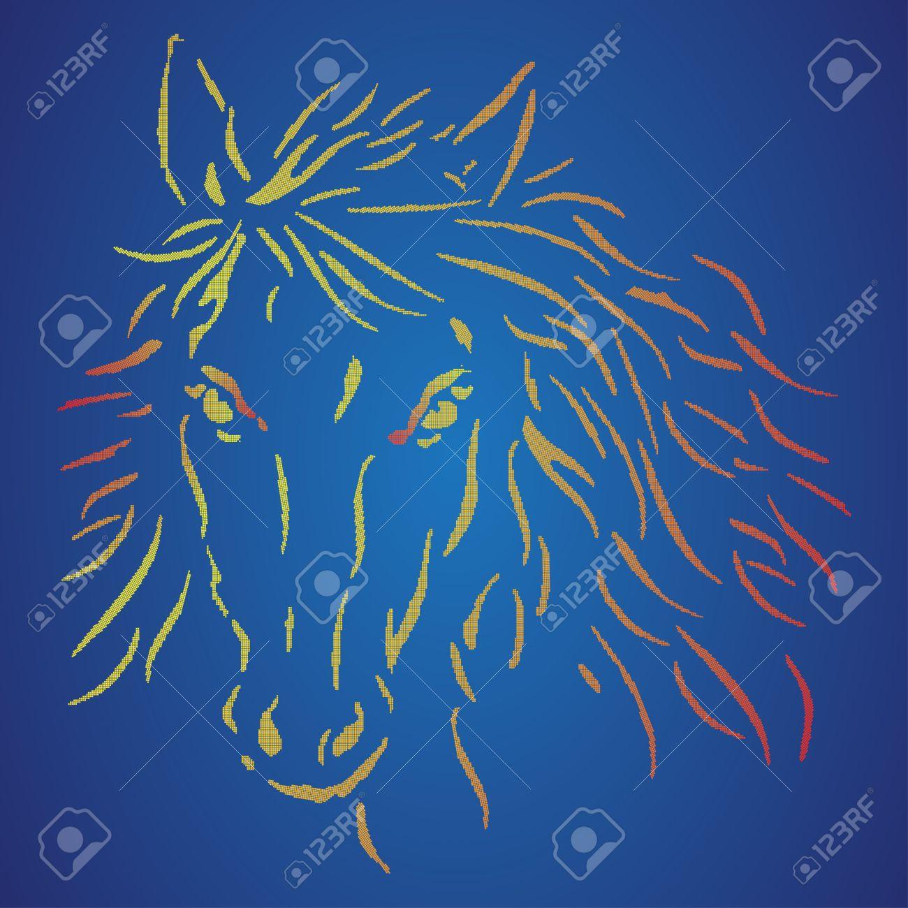 La Tête Du Cheval Sur Un Fond Bleu Pixel Art Cheval Signe Polo Illustration