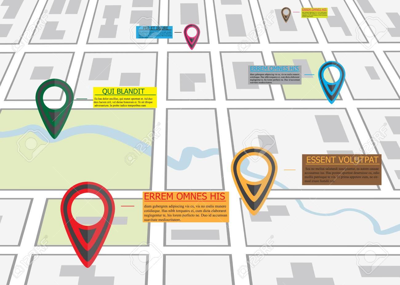 カラフルなピン ポインターイラストとビジネス Infographics 道路地図
