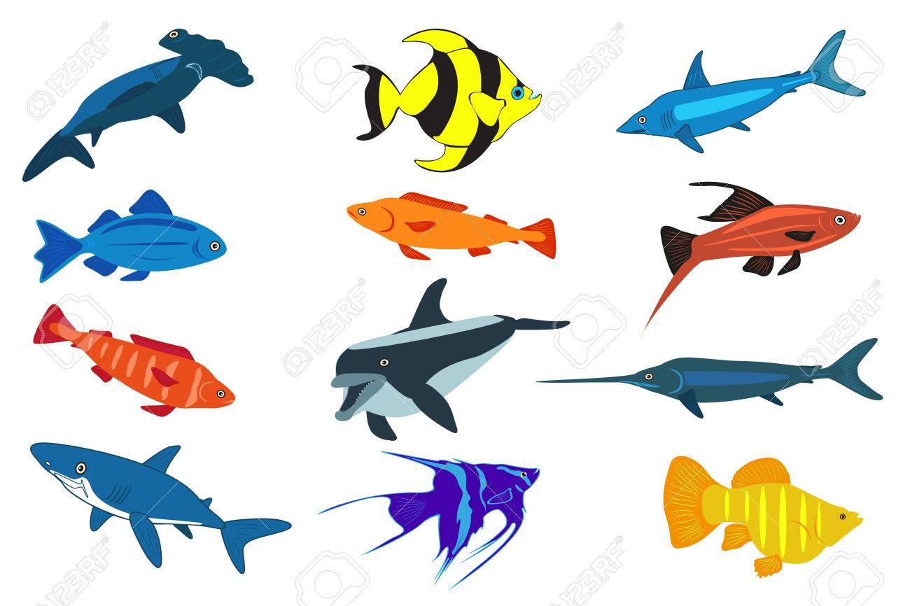 かわいい魚イラスト アイコン セット魚はフラット スタイルの図です