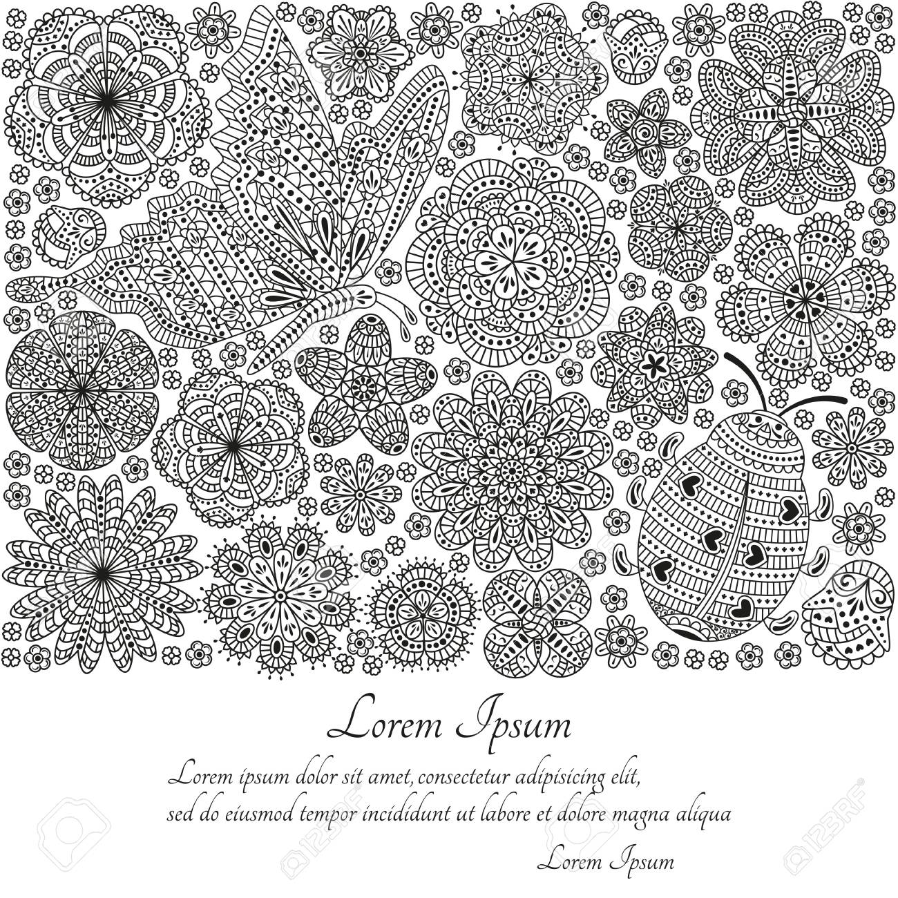 Greeting Card Or Template With Butterfly, Ladybug And Many Ornate ...