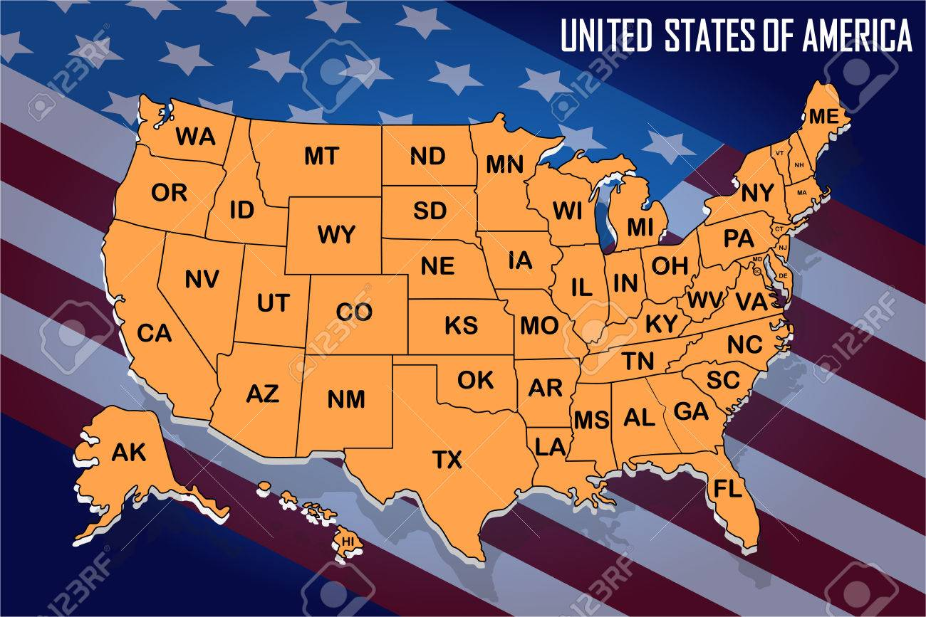 Poster map of United States of America with state names on the..