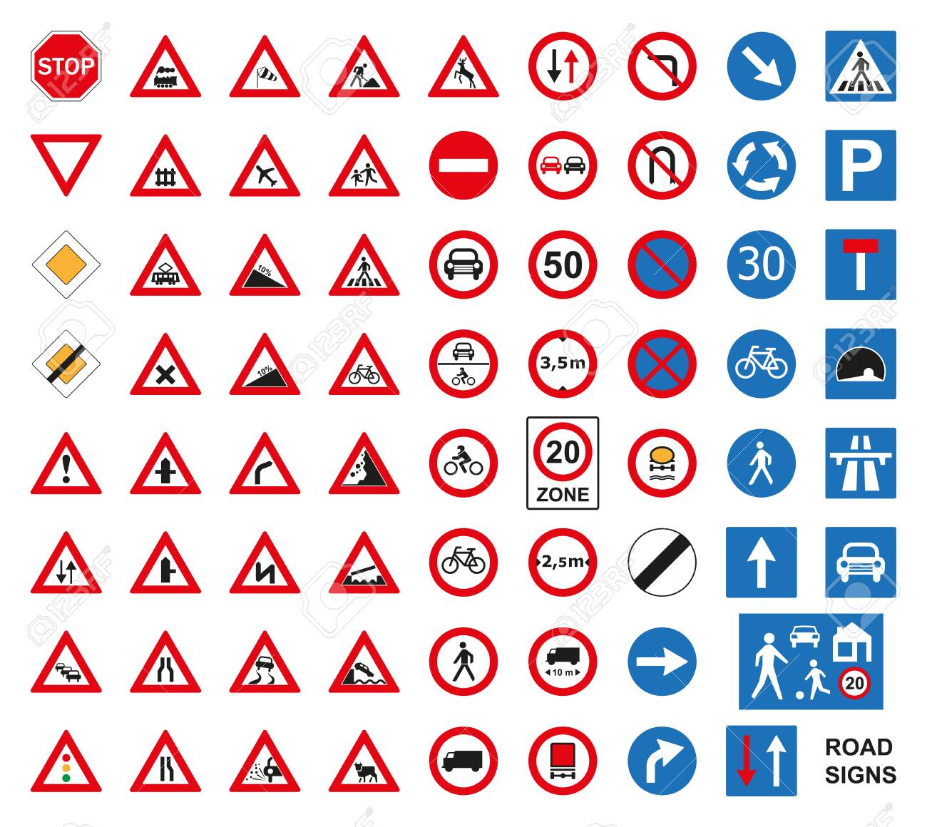 Traffic road signs set isolated on the white. Vector illustration. - 80952177
