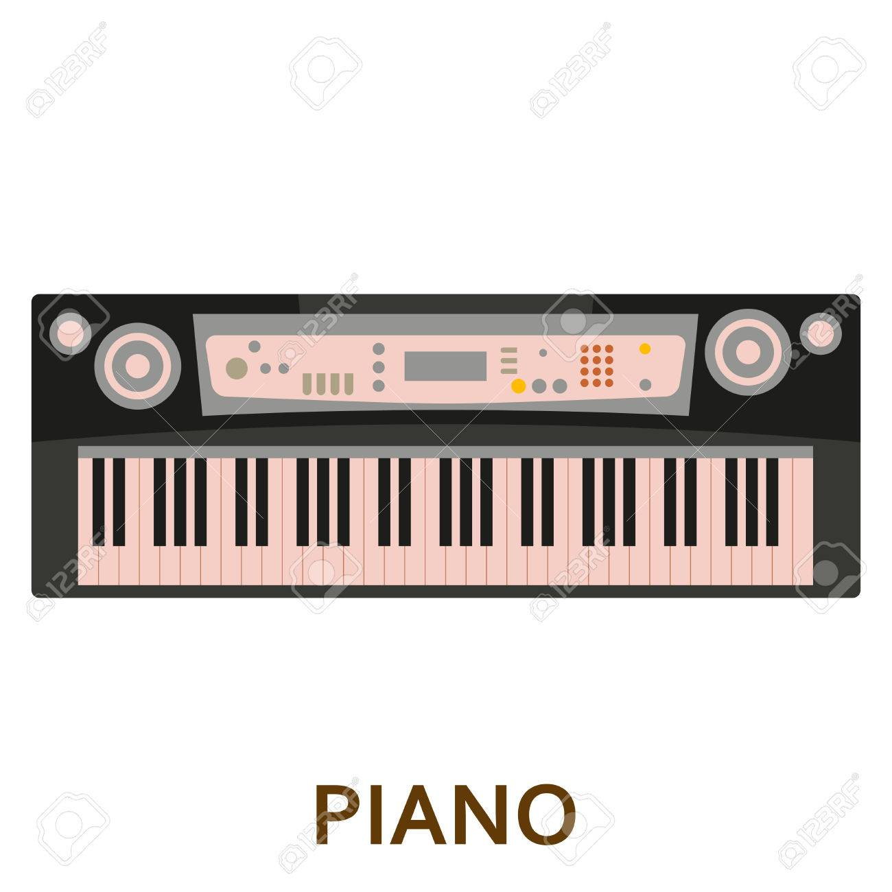 Piano Vector Flat Illustration Stock